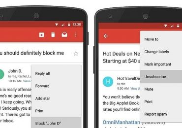 Gmail adds new block feature and unsubscribe button for Andriod