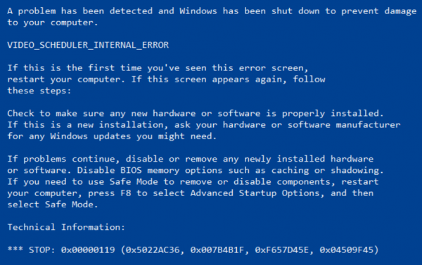 Video Scheduler Internal Error Blue Screen of Death